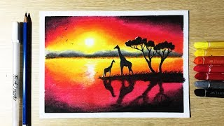 Beautiful Sunset Drawing with Oil Pastels step by step