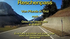 Reschenpass-Pfunds/Tirol/Österreich nach Graun/Italien–Windschutzscheibensicht–Komplett/Echtzeit