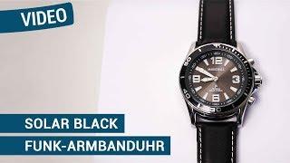 Produktvideo zu Sprechende Funk-Armbanduhr für Herren mit Lederarmband Solar Black