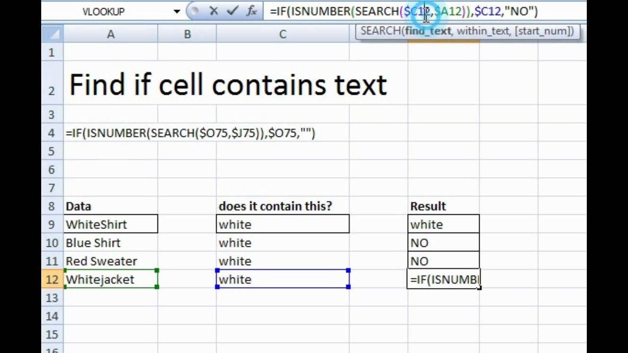 How to find a specific word within a cell in Excel - YouTube