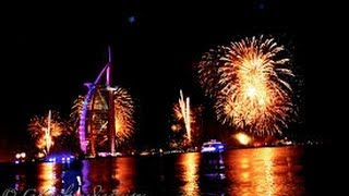 Dubai Burj Al Arab Fireworks 2014 Live HD Aerial view