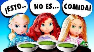 😡 ¡A Rapunzel, la Sirenita y Elsa bebés no les gusta el comedor de la escuela! │ Princesas Disney!