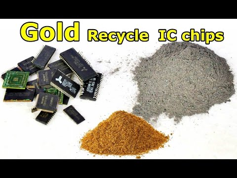 Gold recycling of IC chips. gold recovery IC chips.