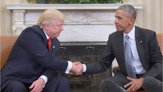 Cordial, but awkward: Trump and Obama meet