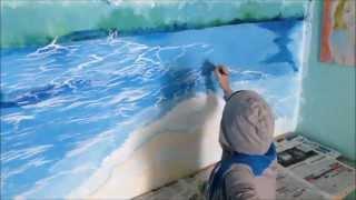 Wall decoration- Crashing waves scenery