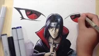 Drawing Itachi Uchiha/watercolor and marker illustration