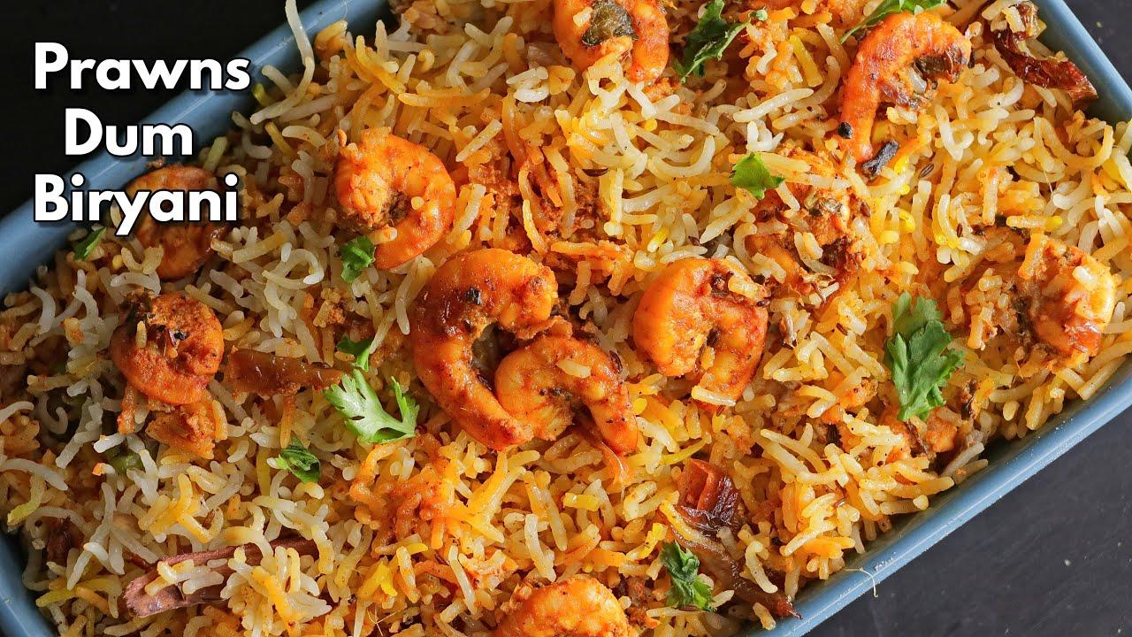 How to make Prawns Dum Biryani at home in Telugu || Easy Dum Biryani recipe ||  @Vismai Food