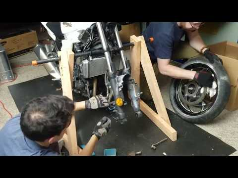 building a motorcycle stand out of wood and straightening forks - Ninja 300