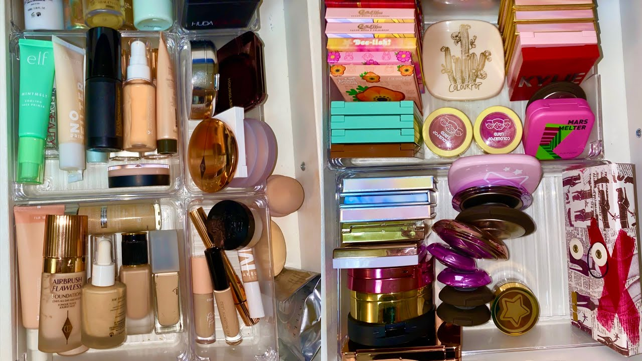 FACE MAKEUP COLLECTION AND DECLUTTER! (foundation, blush, bronzer, highlight and more)