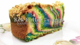 kek butter pelangi mudah dan senang   rainbow butter cake