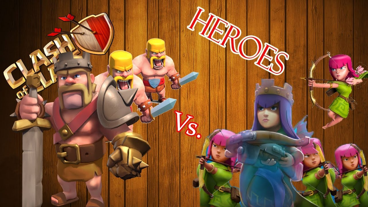 Clash of Clans: Barbarian King & Archer Queen vs B. King ...