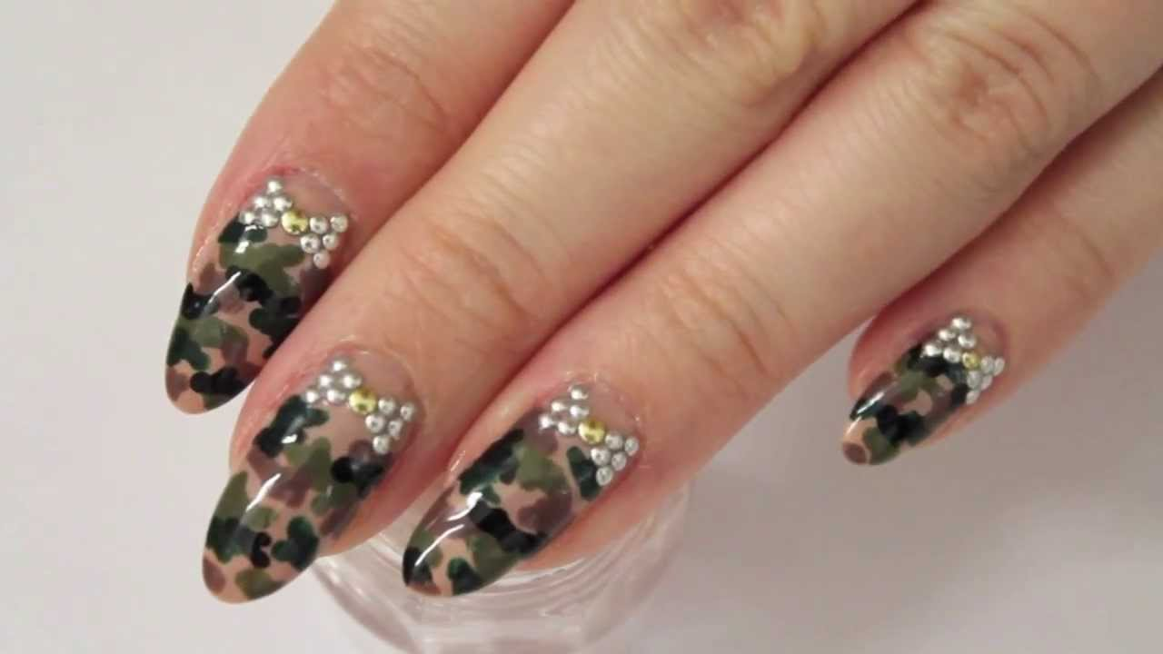 Camouflage Mani Stiletto Nails - Camouflage Mani Stiletto Nails - YouTube