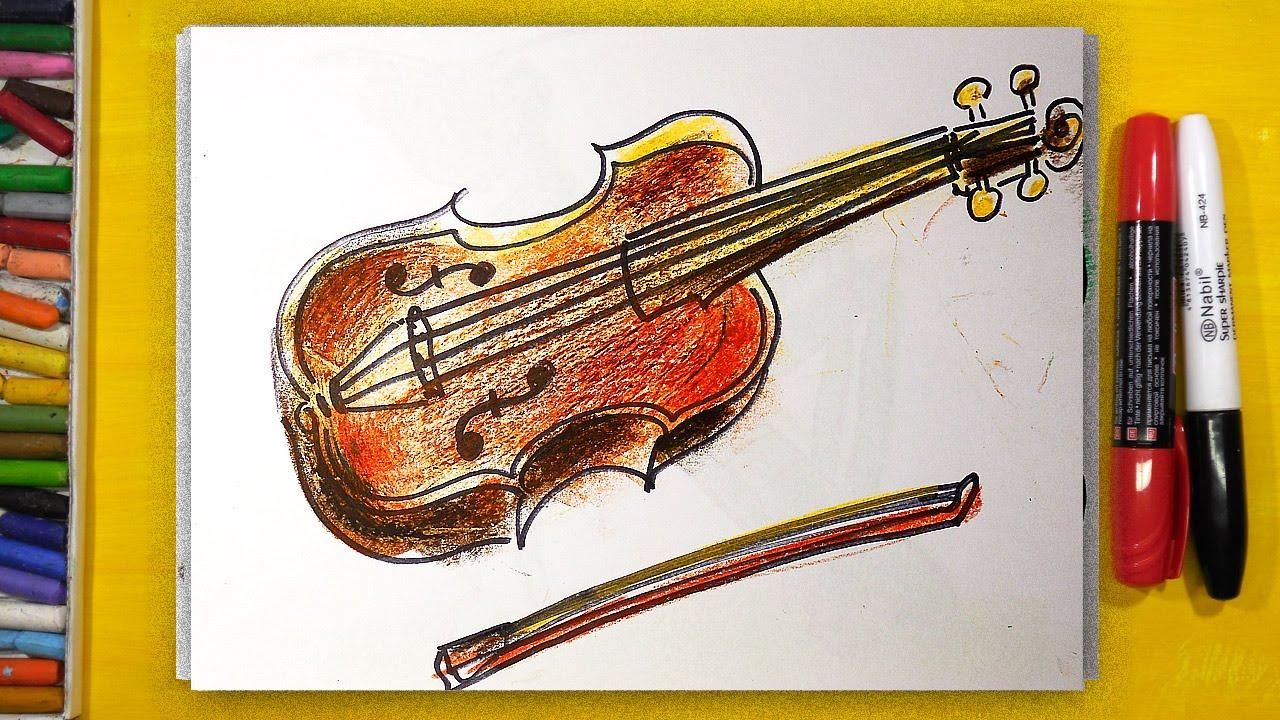 Как нарисовать СКРИПКУ, Урок рисования для детей от 3 лет ...
