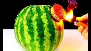 5 MATCH vs WATERMELON Tricks Experiments Life Hacks