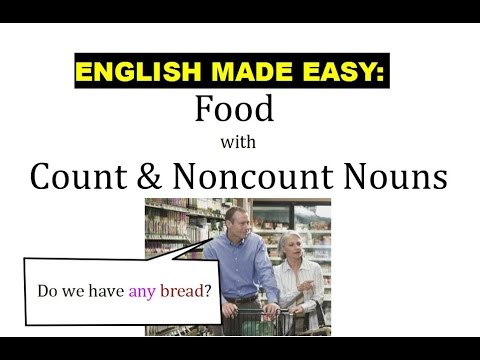 Intro Unit 9 Food  Count vs Noncount Nouns - YouTube - count and noncount nouns esl