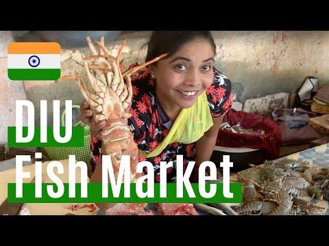 DIU  INDIA Veraval Fishmarket !!  Gujarat Beer Bar !! Vegetables, Lobster【バックパッカー インド】