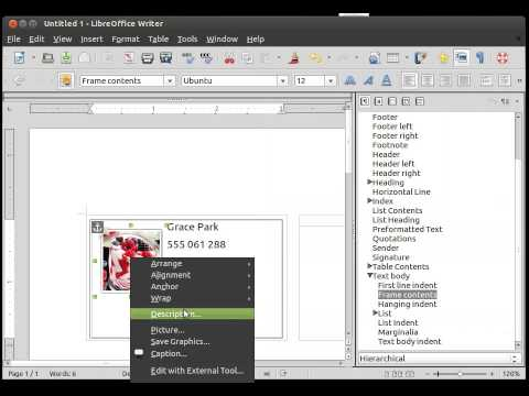How to create a business card with libreoffice in ubuntu youtube how to create a business card with libreoffice in ubuntu reheart Images