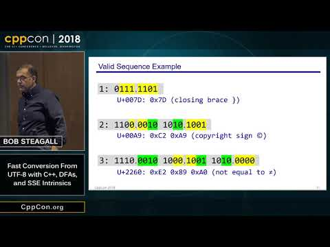 "CppCon 2018: Bob Steagall ""Fast Conversion From UTF-8 with C++, DFAs, and SSE Intrinsics"""