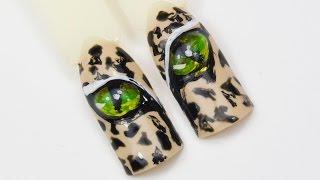 Глаза Кошки. Дизайн ногтей, жидкий камень, акриловые краски :)(