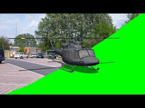 Helicopter take off green screen with template - green screen