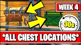 SEARCH 2 CHESTS AND AN AMMO BOX WITHIN 60 SECONDS (Fortnite SEASON X Week 4 ALL CHESTS LOCATIONS)