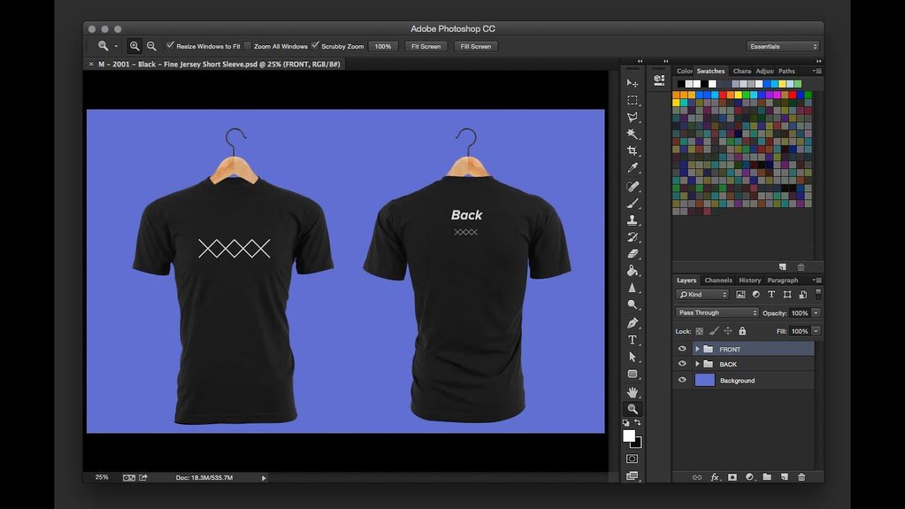Download Create a Custom T-Shirt Mockup in Photoshop - YouTube Free Mockups