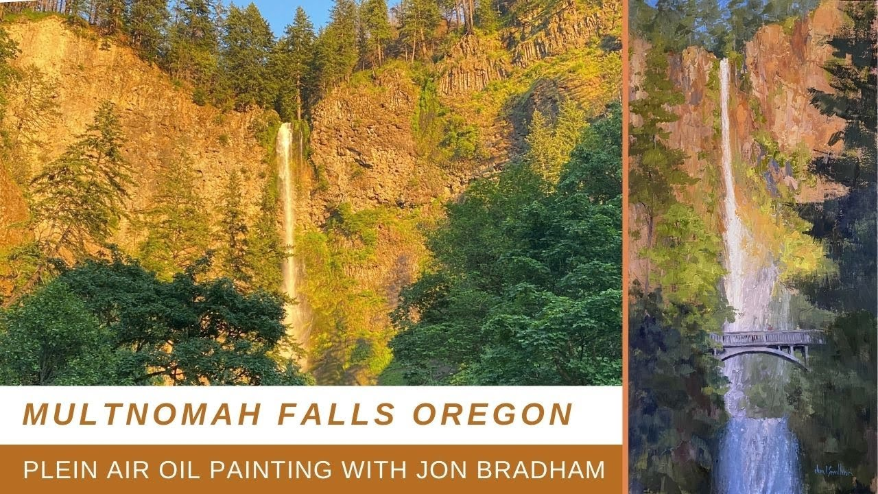 SPEED PLEIN AIR PAINTING AT MULTNOMAH FALLS with studio critique and touch up
