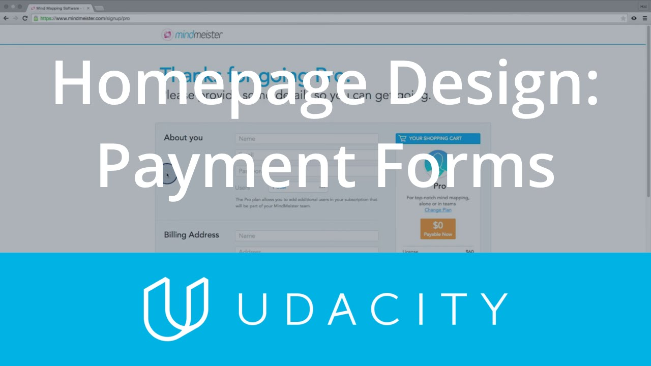 Homepage Design: Payment Forms | UX/UI Design | Product Design | Udacity