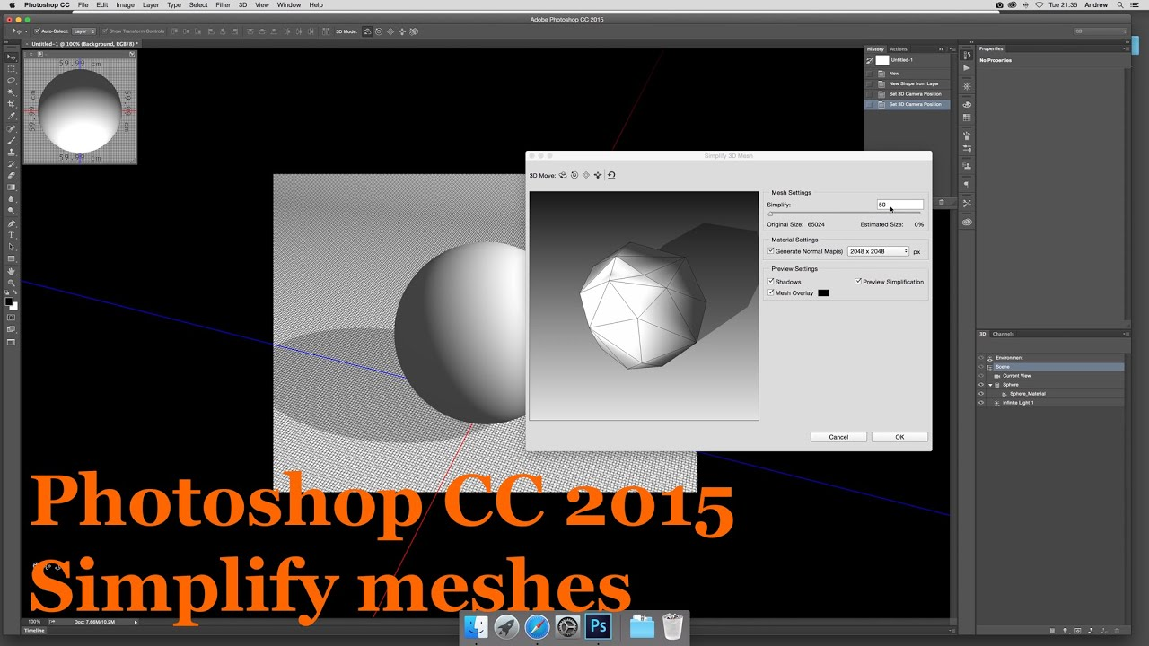 Photoshop CC 2015 How to Simplify meshes 3D new features tutorial