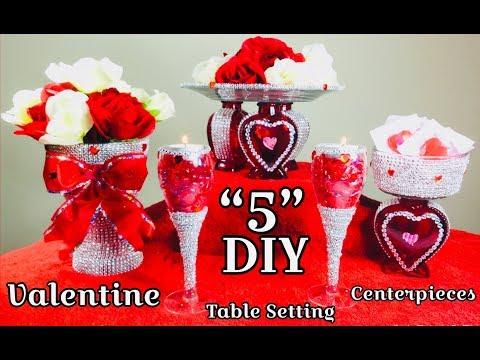 "Dollar Tree 5"" DIY Valentine Ideas Table Setting Centerpieces 2019"