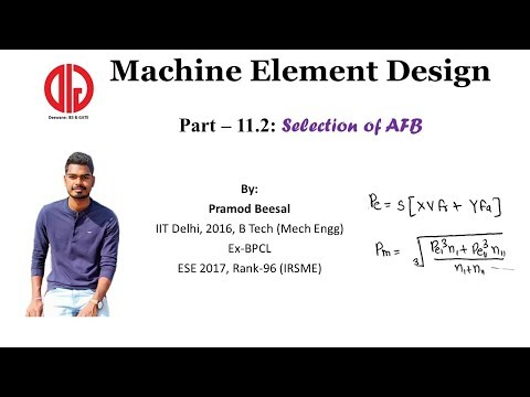 MD Part 11_2 | Equivalent Load On Rolling Bearing | Selection Of Bearing Part 1