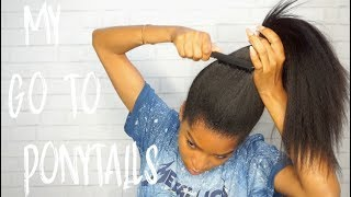 MY EASY GO TO PONYTAIL STYLES USING CLIPINS! Ft. Knatural Coarse Clip ins