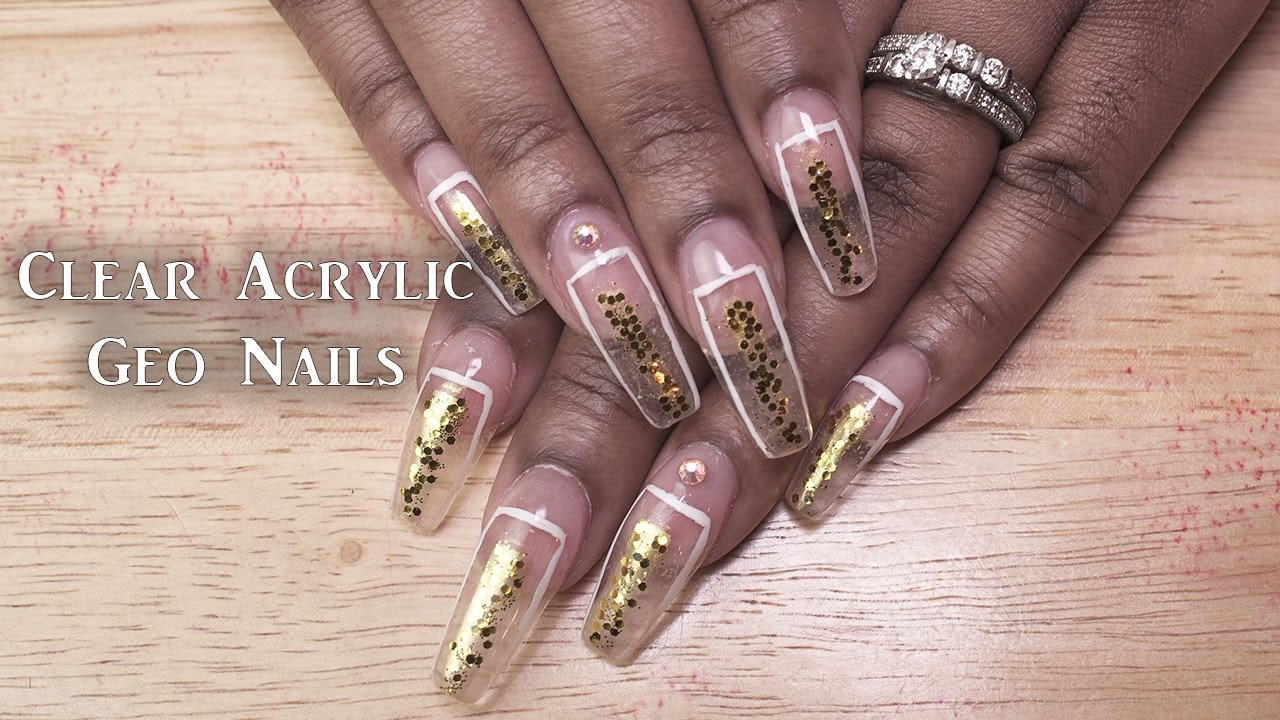 Clear Acrylic Gold Geo Nails | LongHairPrettyNails - YouTube