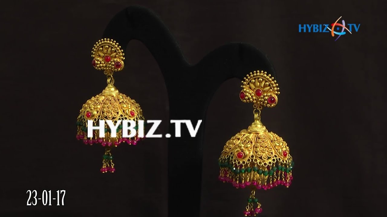 gold jhumkas with ruby emerald drops malabar gold and