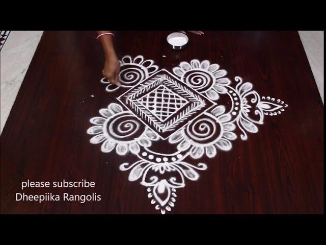 simple deepam muggulu design with 7-1 dots * new diya kolam * latest easy rangoli designs #1