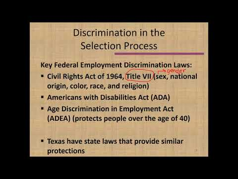 Second Lecture for Chapter 7: Legally Selecting Employees (HAMG 1340)