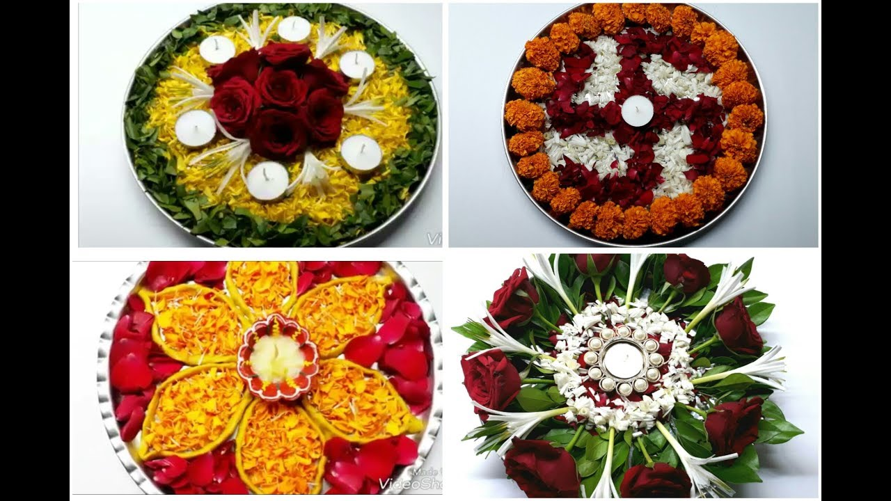 4 decorative thali ideas 4 pooja thali decoration how to for Aarti thali decoration with flowers