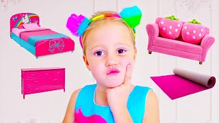 Nastya dekorierte ihr neues Zimmer im Stil von Disney Prinzessinnen