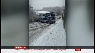 Weather Events 2021 - Heavy snow, freezing rain & a sliding bus (UK) - BBC News - 14th January 2021