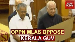 High Drama In Kerala Assembly: Oppn MLAs Protest Against Governor Arif Mohammad Khan