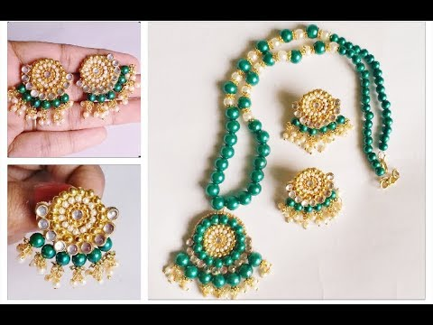 How to make necklace at home with earrings//new DIY kundan beads necklace