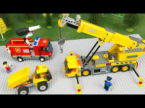 Lego Police Cars, Tractor , Excavator and Fire Truck  | Kids Cartoon | Car stories for kids