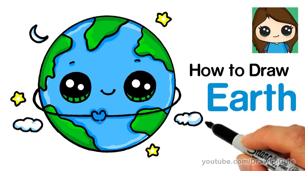 How to draw earth easy and cute youtube for Easy to draw earth