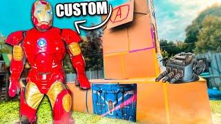 Ultimate Iron Man Box Fort Base - Custom Iron Man Suit & Avengers Tower