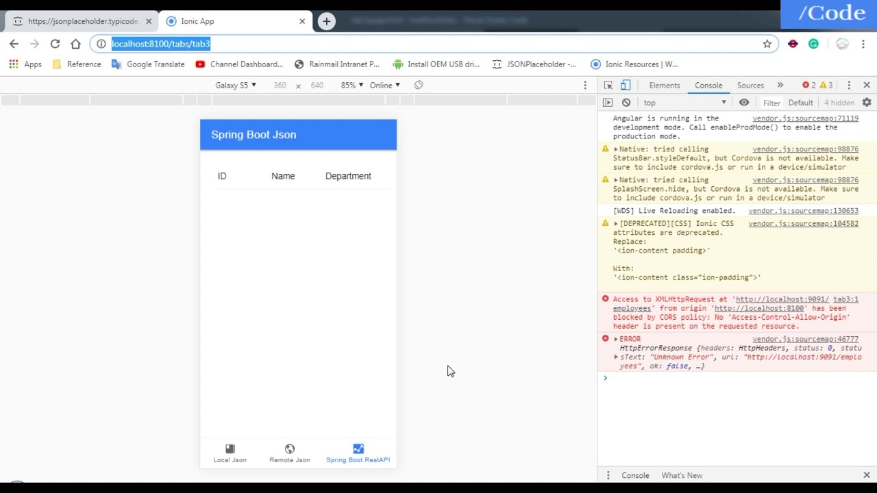 How to load Spring Boot REST API Json Data in Ionic 4