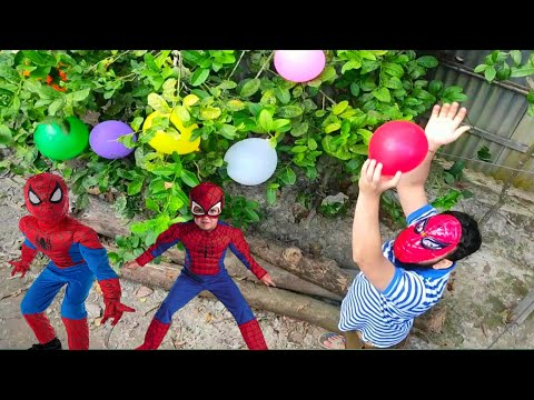 Learn colour name with balloons ! Outdoor fun with Flowers balloons ! Kids nursery rhymes videos