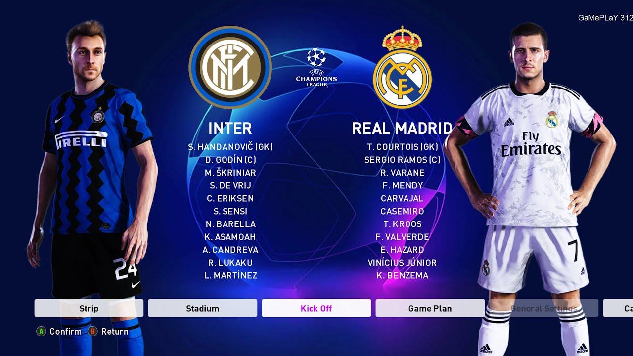 Pes 2020 Inter Vs Real Madrid Uefa Champions League Ucl New Kits 20 21 Season Youtube