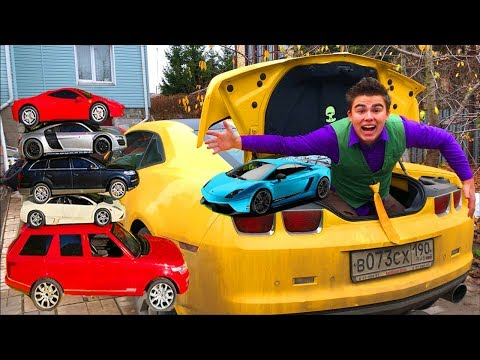 Mr. Joe found A LOT OF Colored Cars in Trunk Car Chevy Camaro & Teleported in Corvette for Kids
