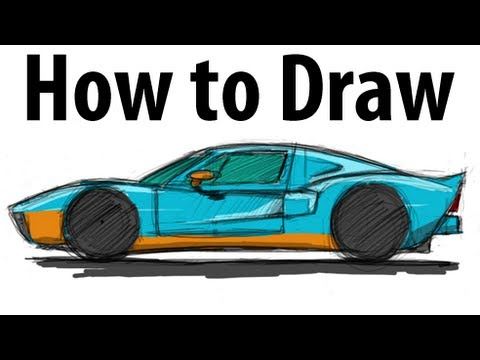How to draw a Ford GT - Sketch it quick! - YouTube