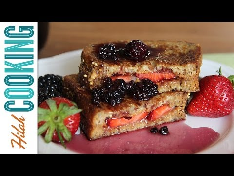 How to Make PB&J French Toast with Berry Syrup |  Hilah Cooking